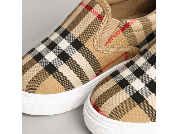 Vintage Check and Leather Slip-on Sneakers in Antique Yellow/optic White | Burberry Canada - cell image 1