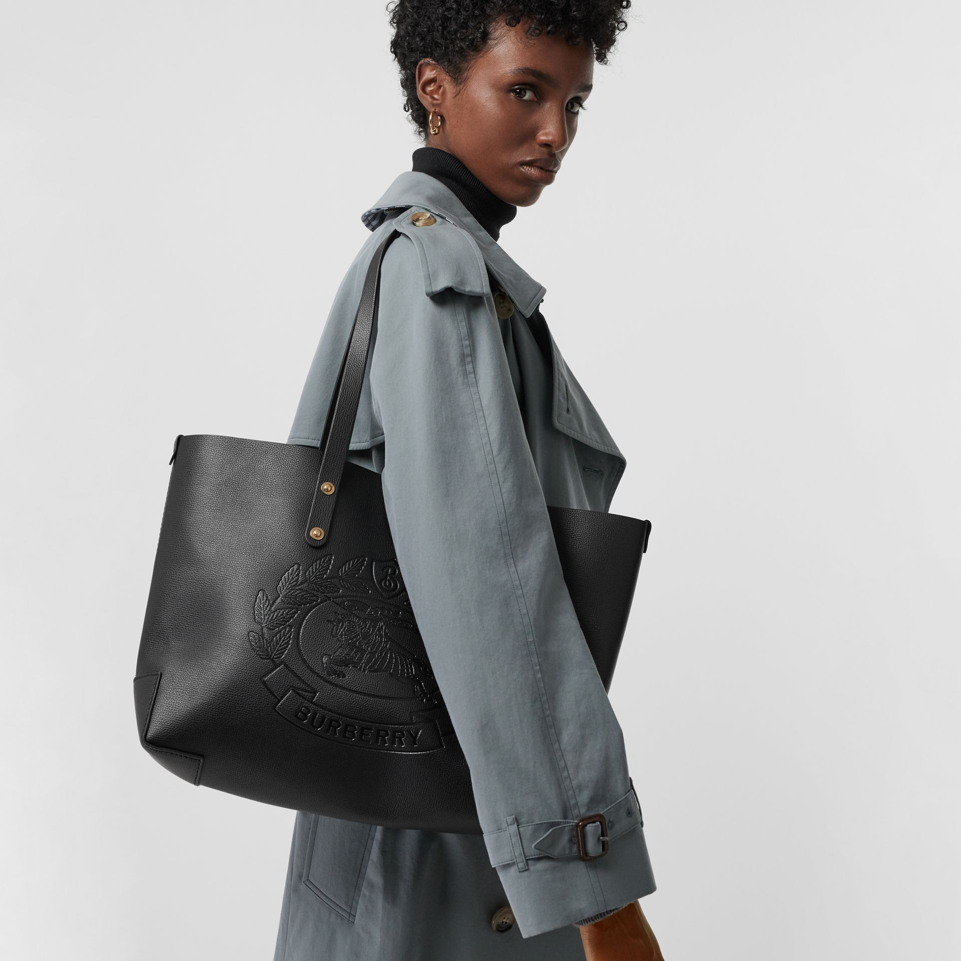 Small Embossed Crest Leather Tote in Black | Burberry - gallery image 3