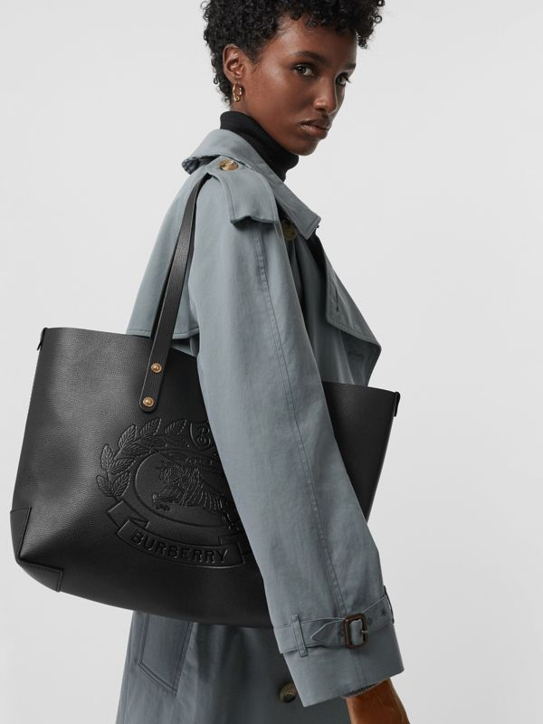 Small Embossed Crest Leather Tote in Black | Burberry Australia - cell image 3