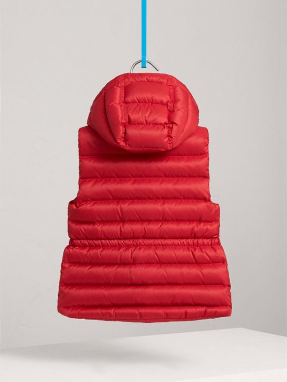 Detachable Hood Down-filled Gilet in Bright Cherry Red - Girl | Burberry - cell image 3