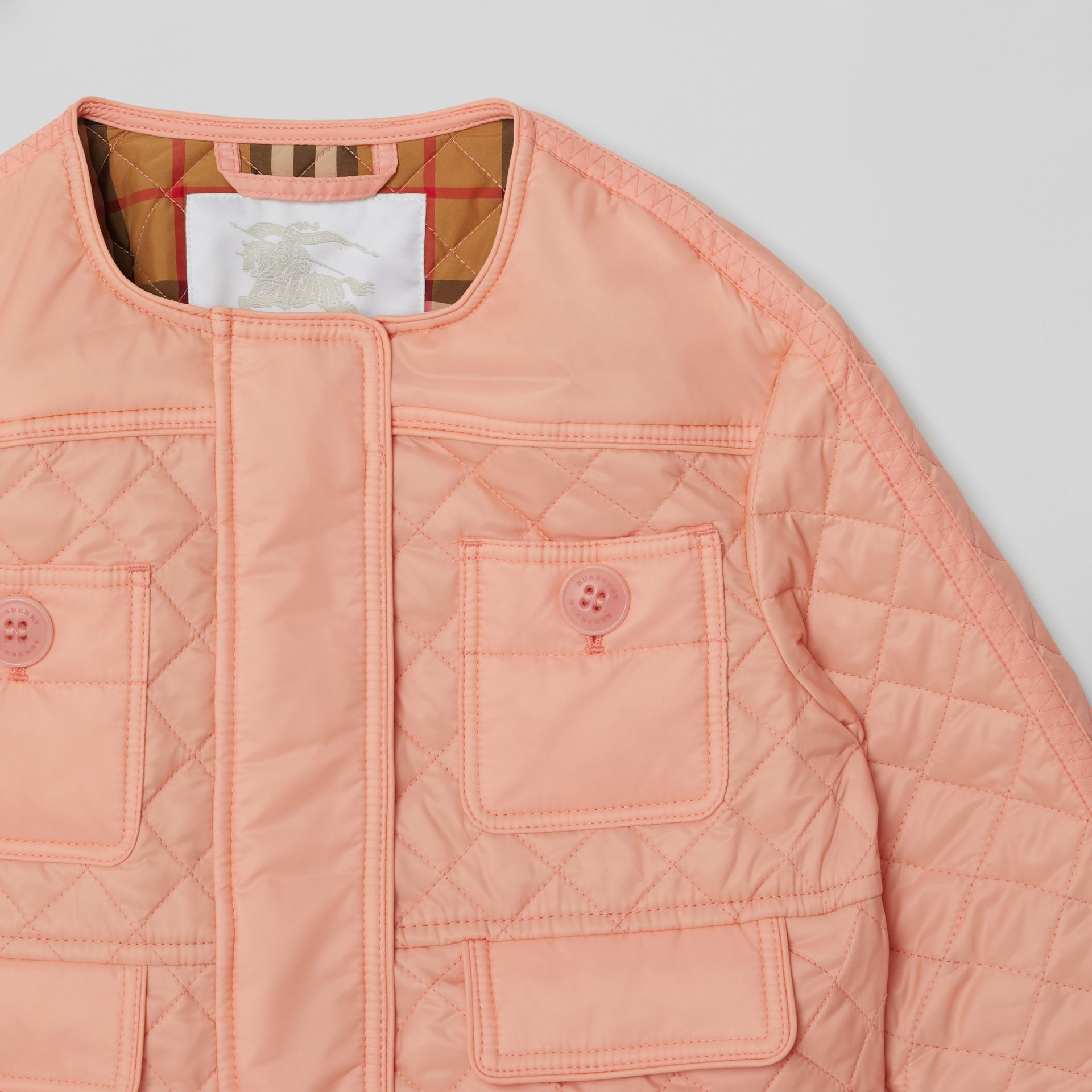 Lightweight Diamond Quilted Jacket in Apricot Pink - Children | Burberry - gallery image 5