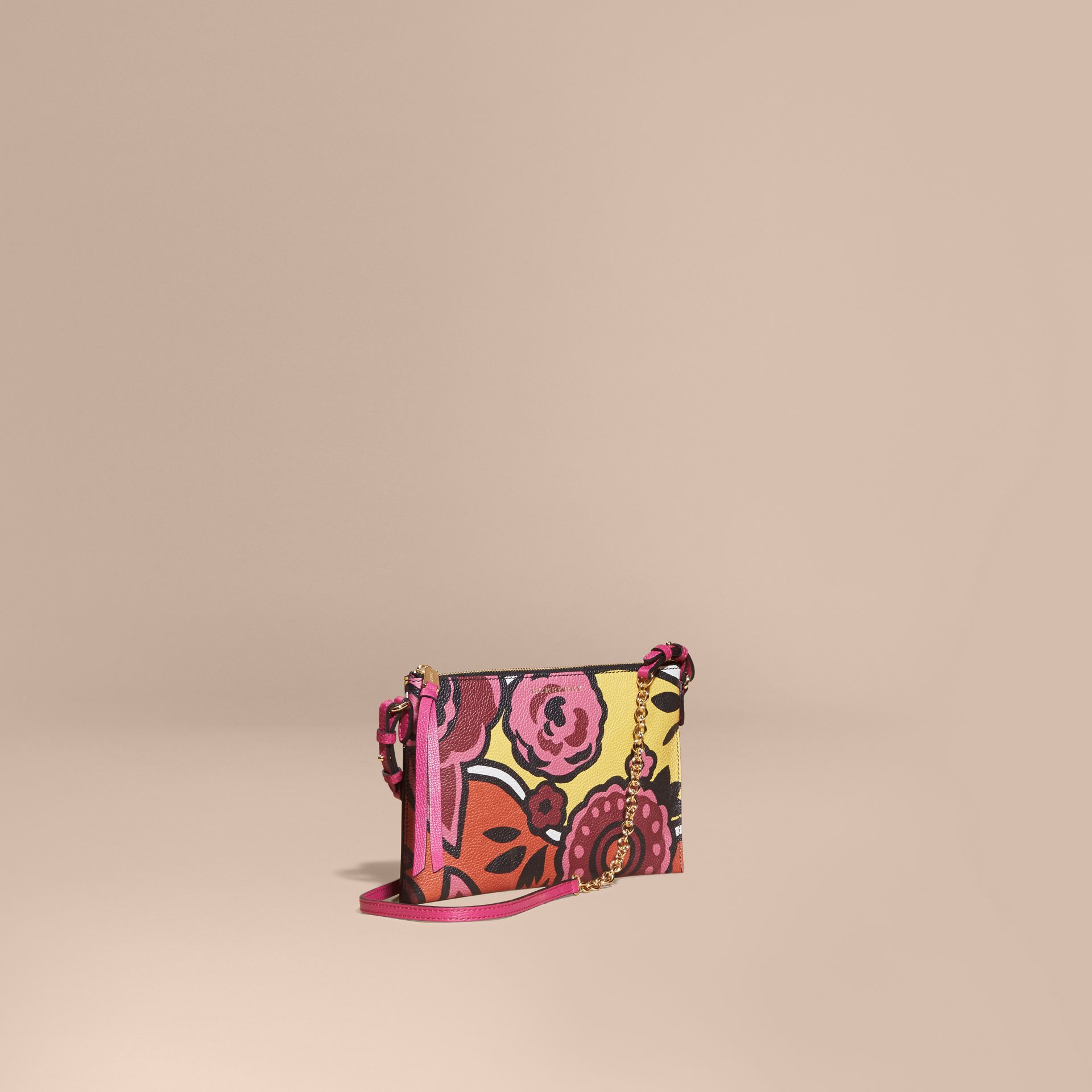 Vibrant orange Floral Print Leather Clutch Bag Vibrant Orange - gallery image 1