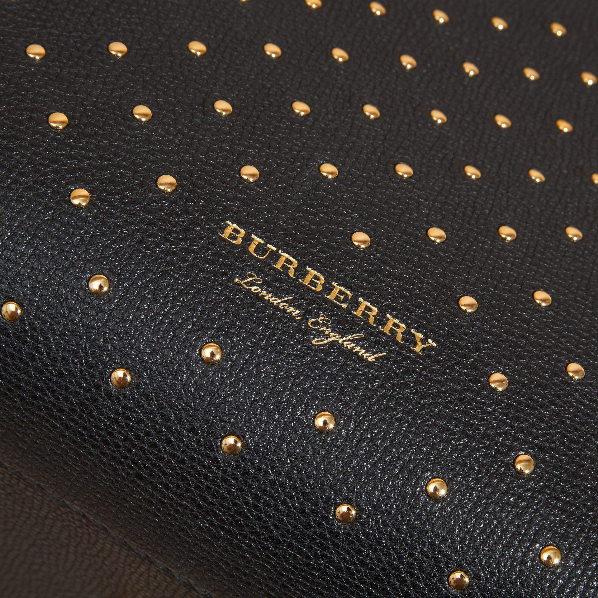 The Medium Banner in Riveted Leather and House Check Black - gallery image 2