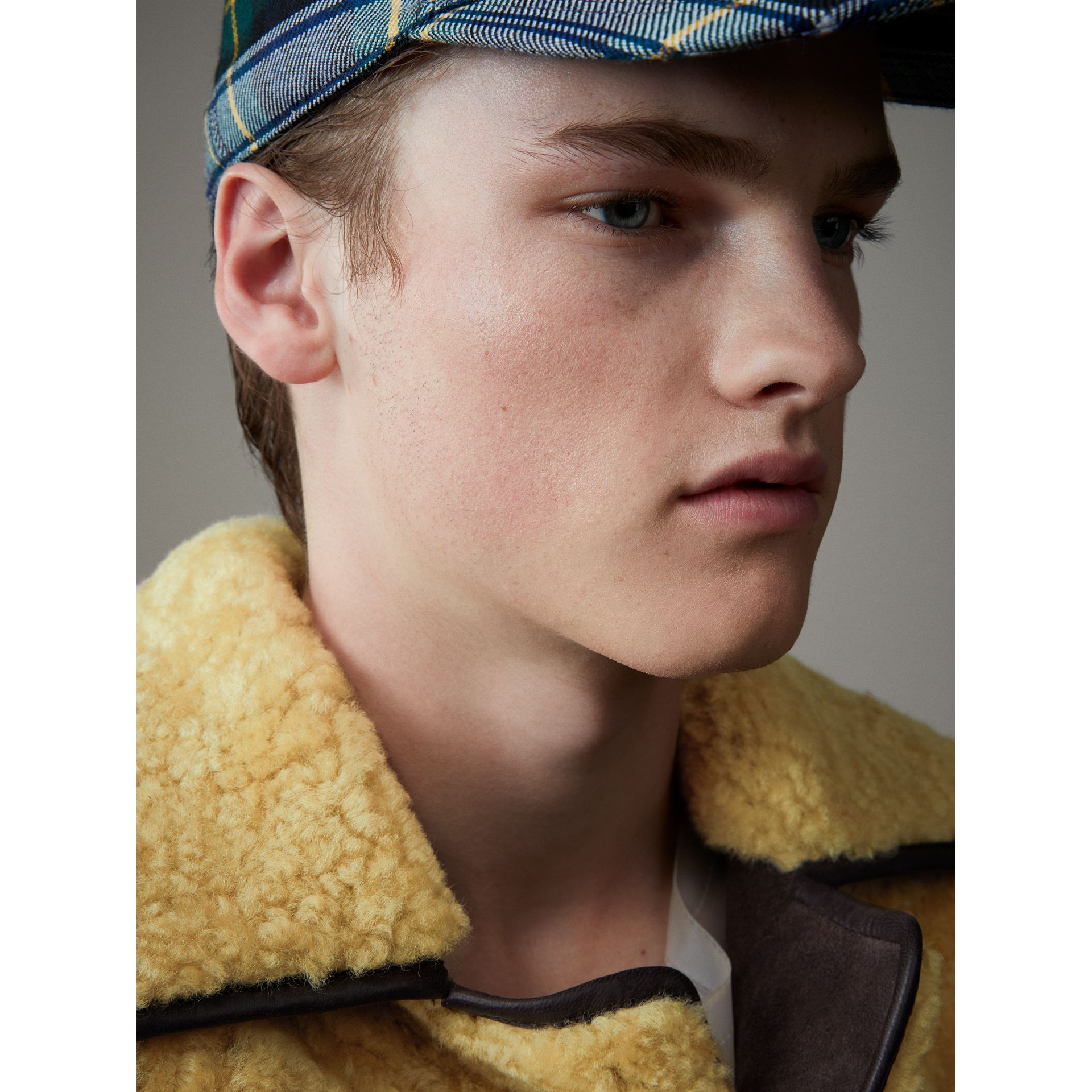 Relaxed Fit Shearling and Lambskin Jacket in Chocolate/light Citrus - Men | Burberry Australia - gallery image 5
