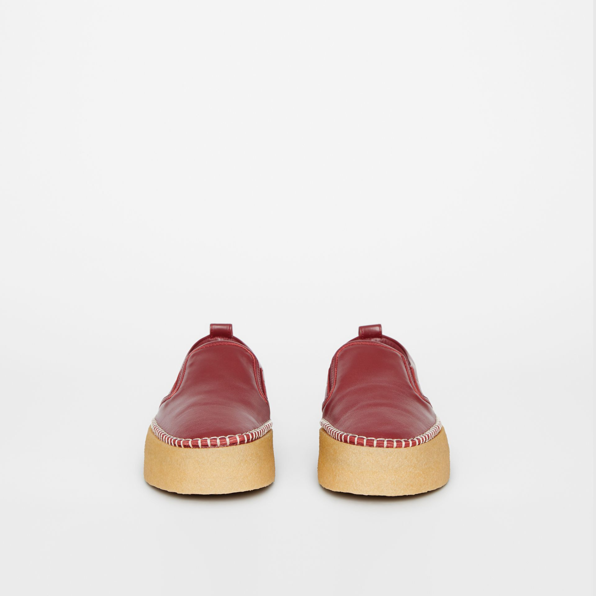 Leather Slip-on Sneakers in Bordeaux - Women | Burberry United States - gallery image 3