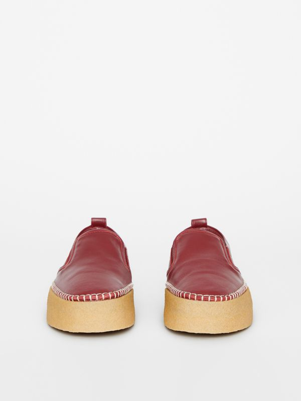Leather Slip-on Sneakers in Bordeaux - Women | Burberry United States - cell image 3