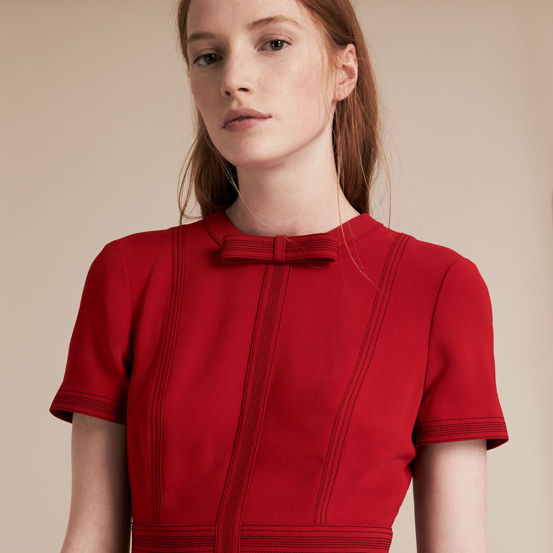 Parade red Short-sleeved Topstitch Detail Shift Dress - gallery image 5