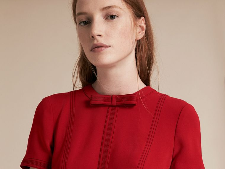 Parade red Short-sleeved Topstitch Detail Shift Dress - cell image 4