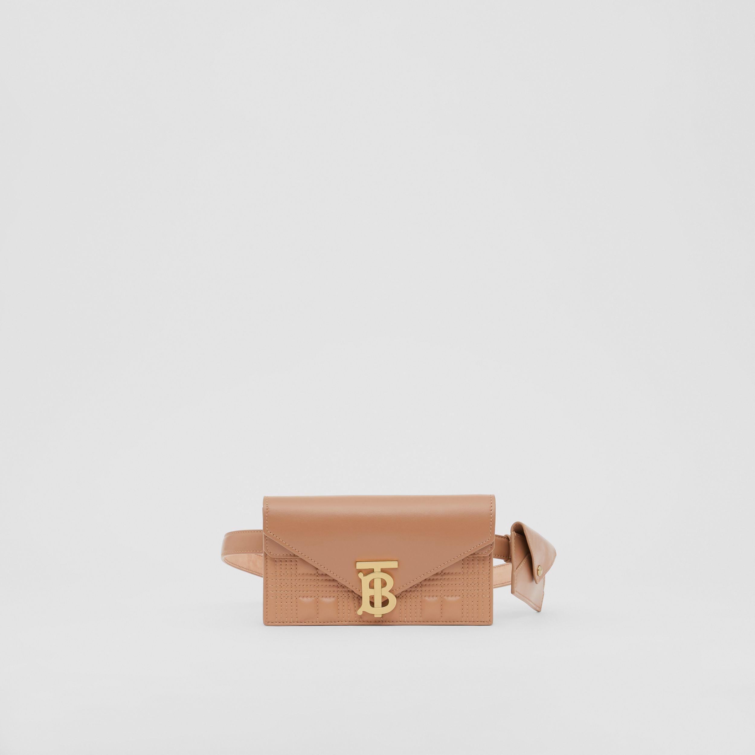 Belted Quilted Lambskin TB Envelope Clutch in Warm Camel - Women | Burberry - 1