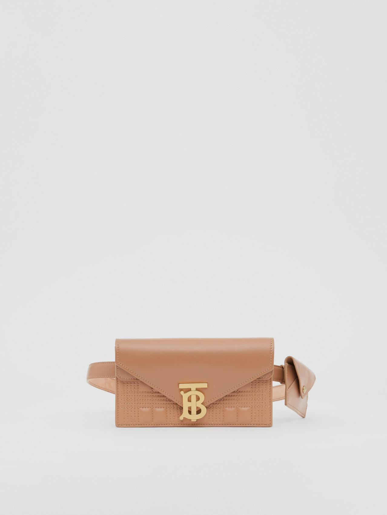 Belted Quilted Lambskin TB Envelope Clutch (Warm Camel)