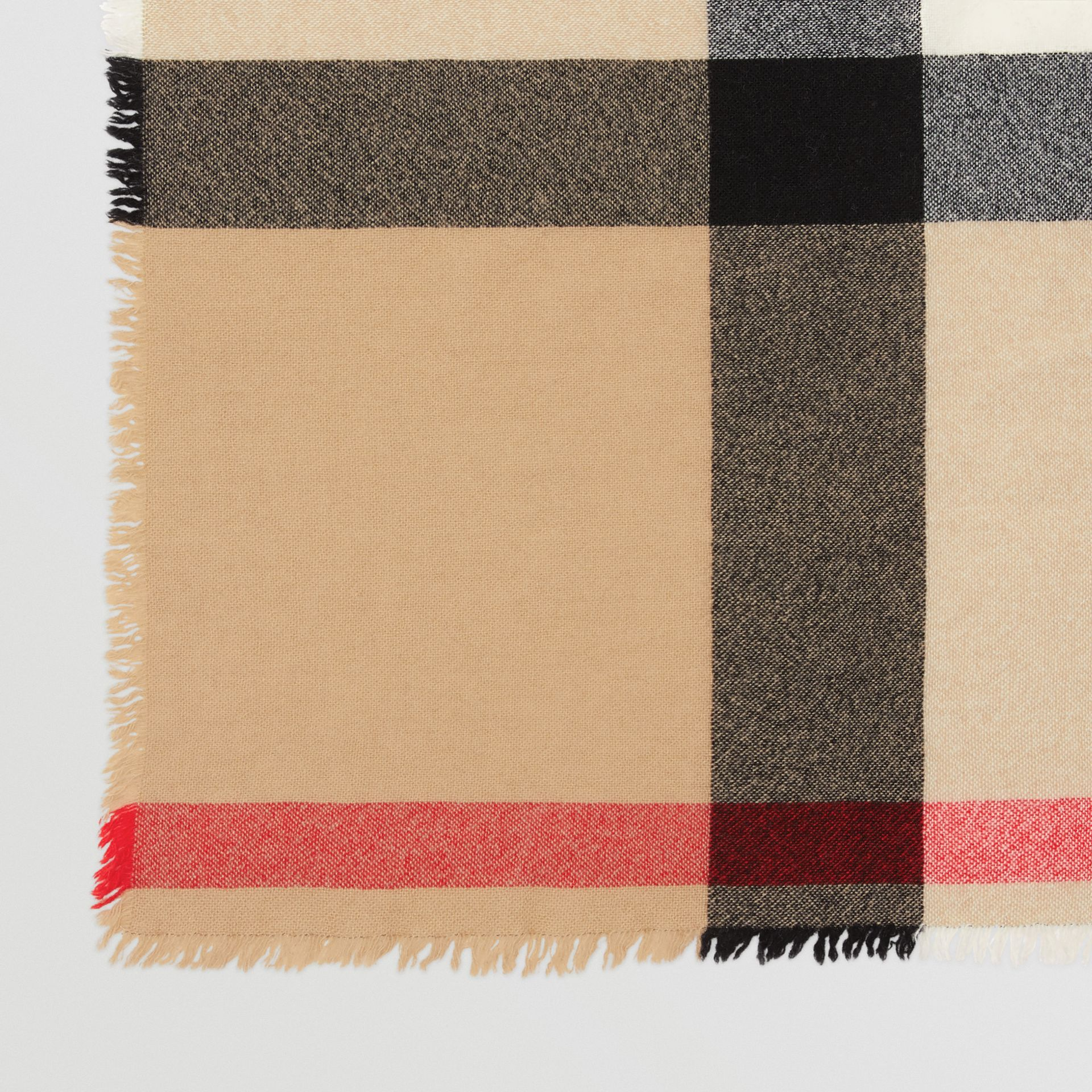 Fringed Check Wool Cashmere Scarf in Camel | Burberry - gallery image 1