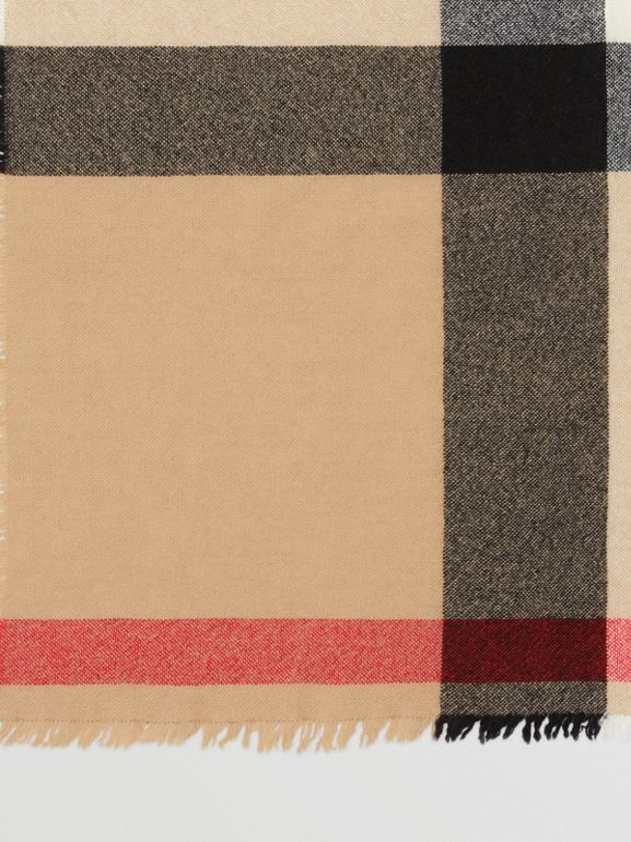 Fringed Check Wool Cashmere Scarf in Camel | Burberry - cell image 1