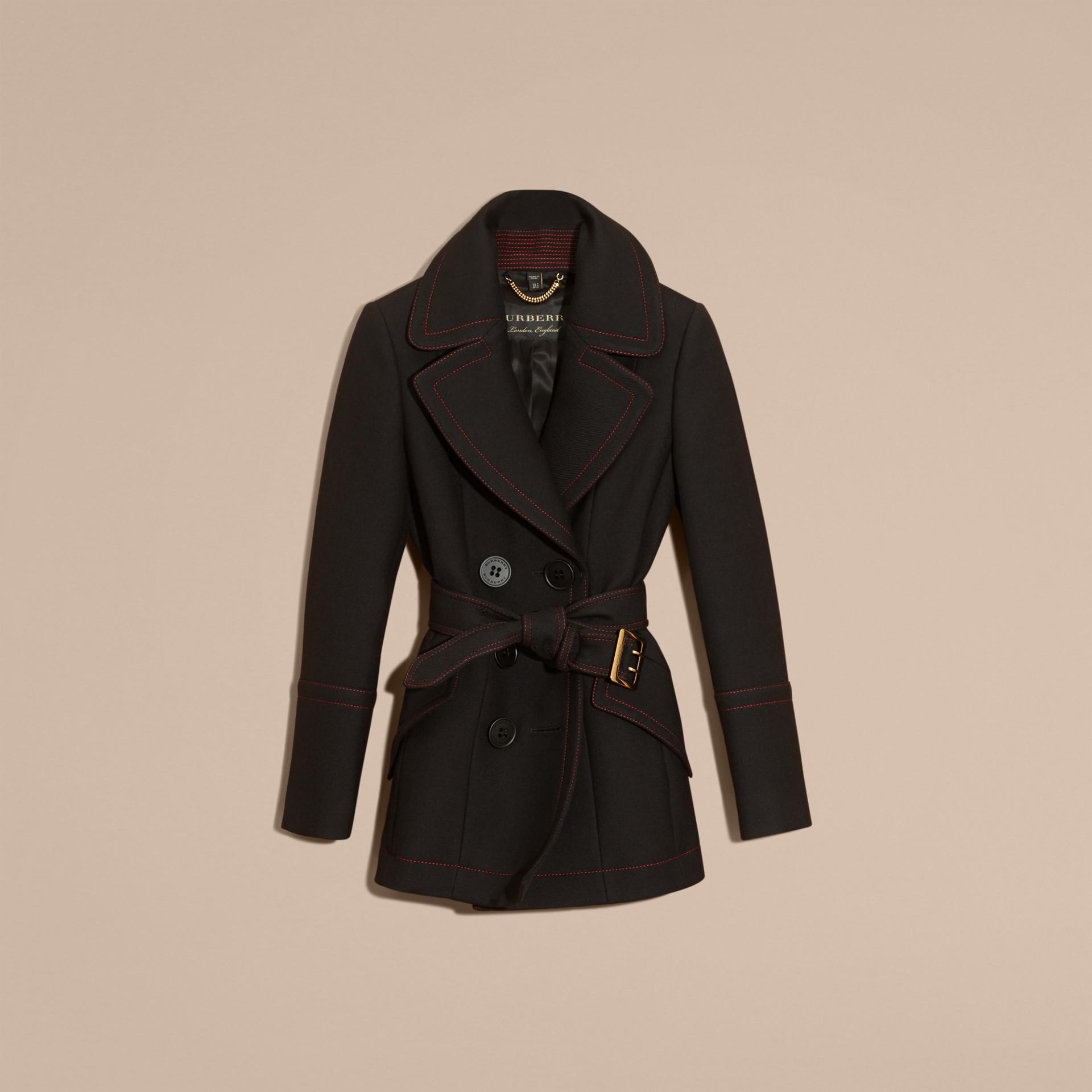 Black Wool Silk Pea Coat with Regimental Topstitching - gallery image 4