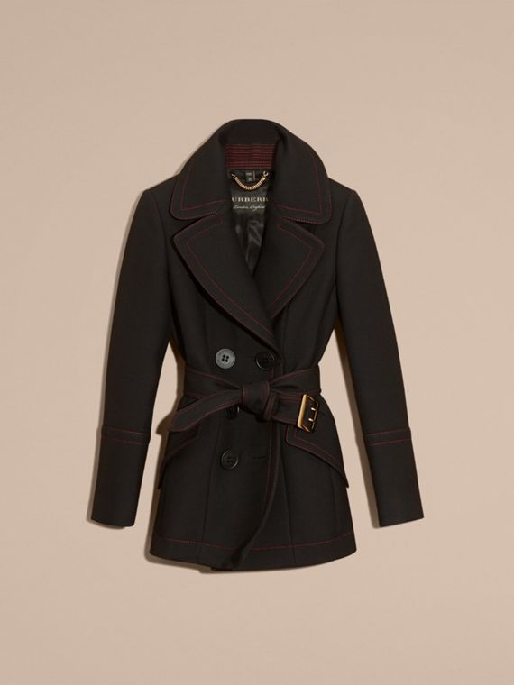 Black Wool Silk Pea Coat with Regimental Topstitching - cell image 3