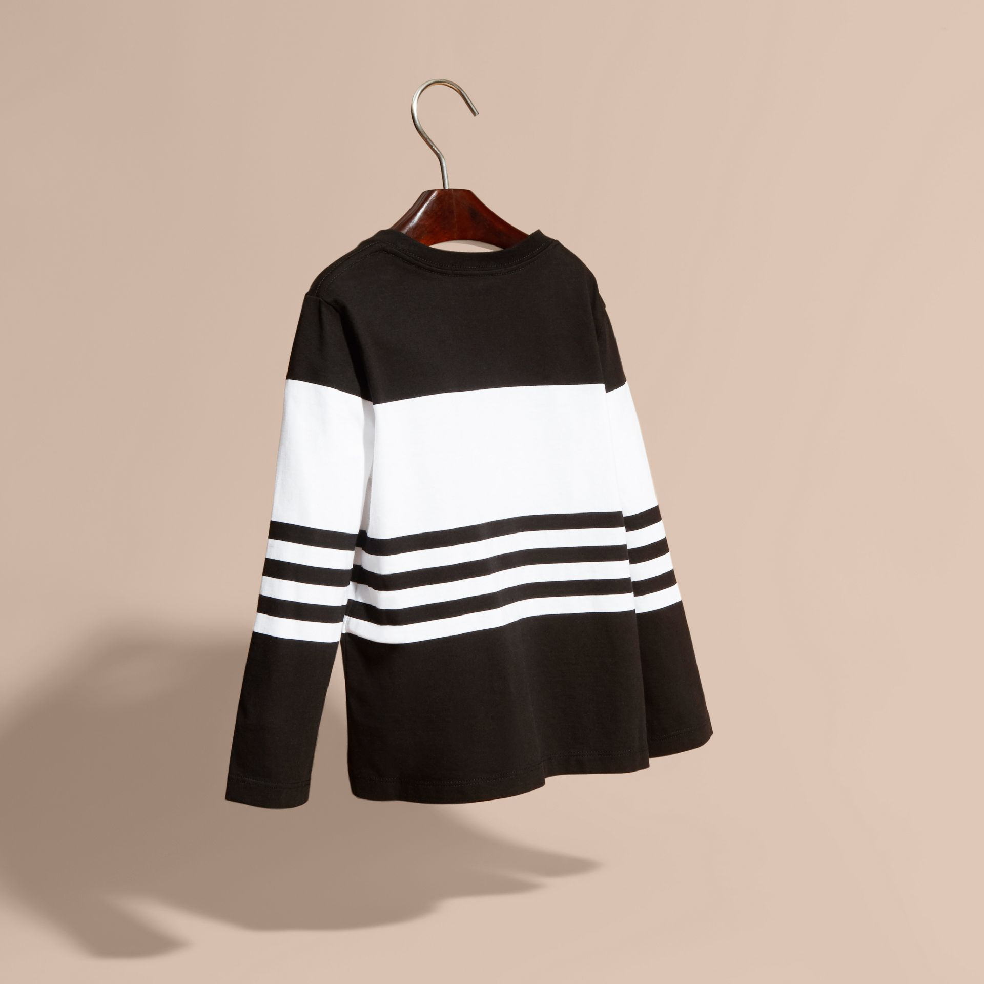 Black Long-sleeved Striped Cotton T-shirt Black - gallery image 4