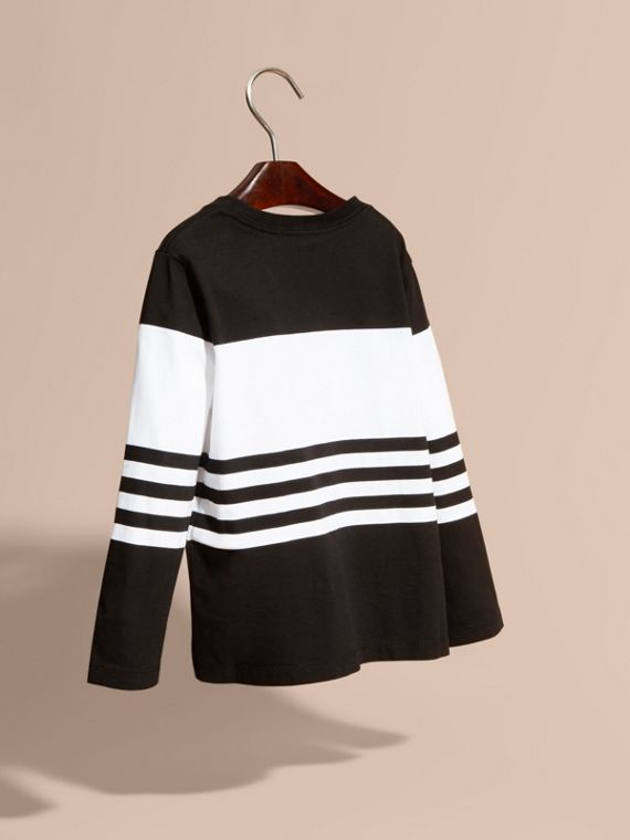 Black Long-sleeved Striped Cotton T-shirt Black - cell image 3