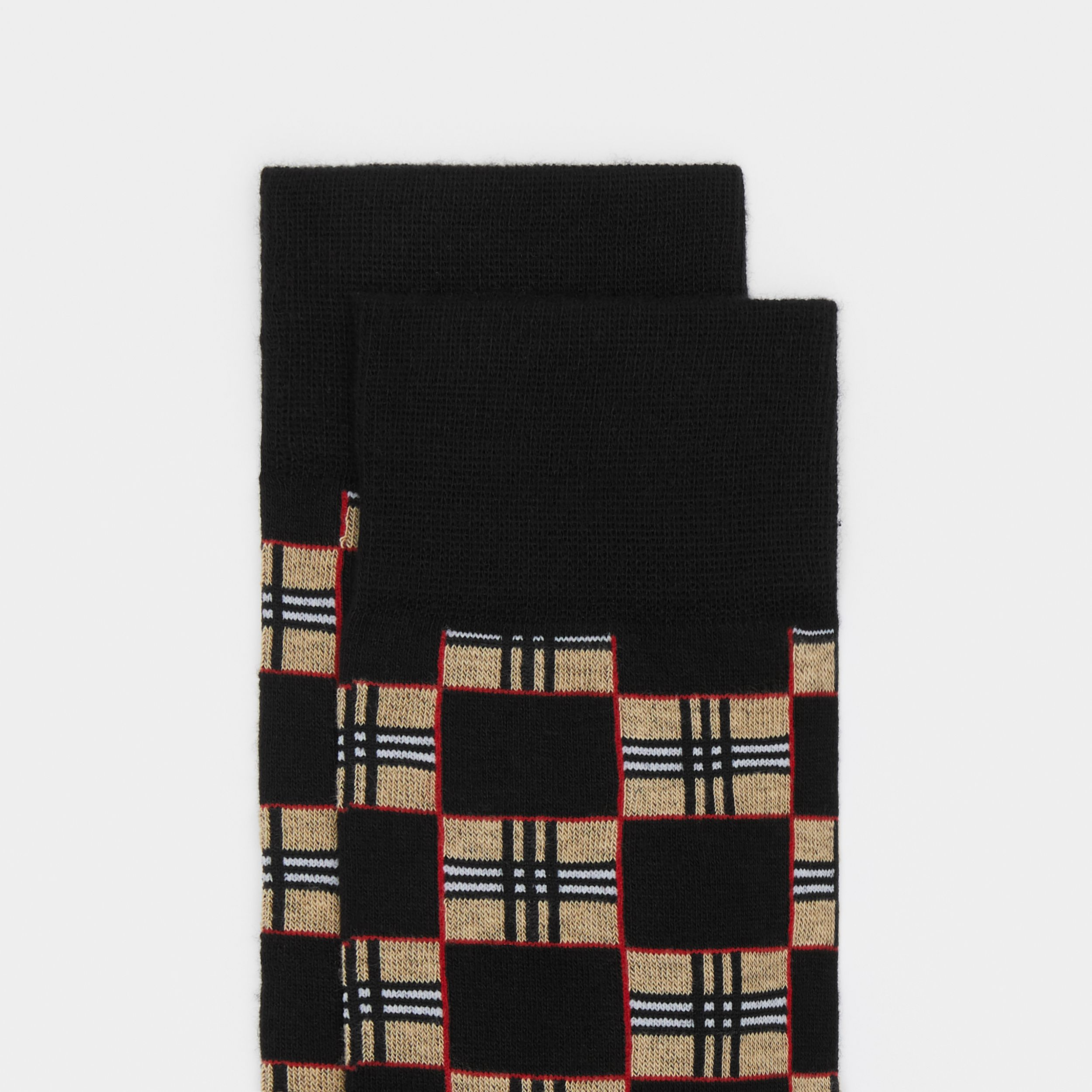 Chequer Cotton Blend Socks in Black | Burberry Singapore - 2