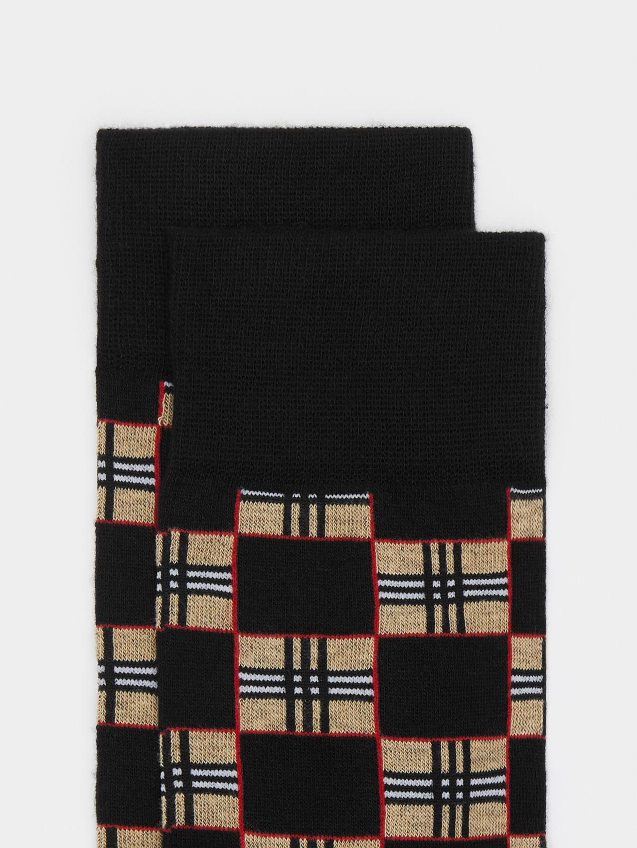 Chequer Cotton Blend Socks in Black