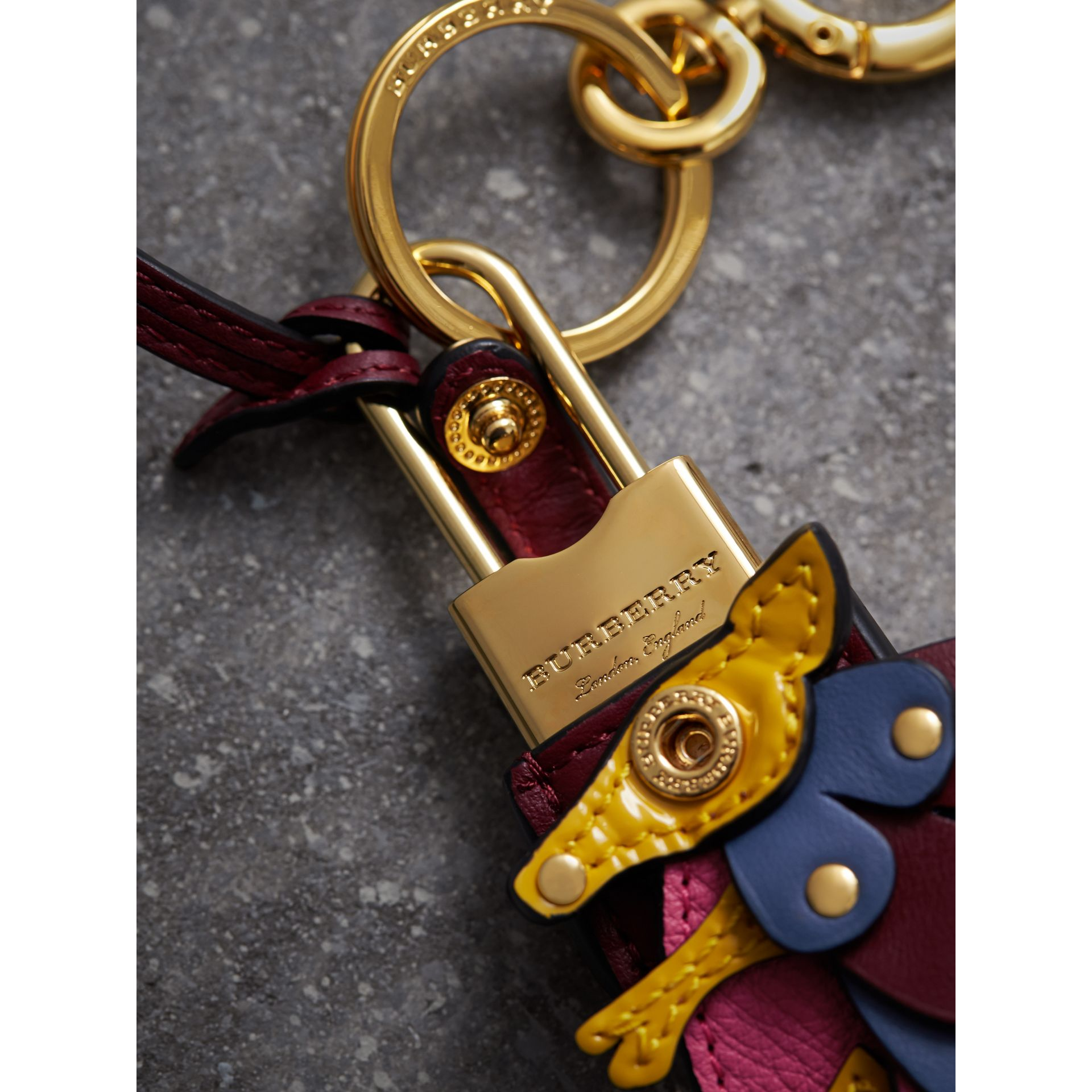 Beasts Leather Key Charm and Padlock in Citrus Yellow - Women | Burberry - gallery image 1