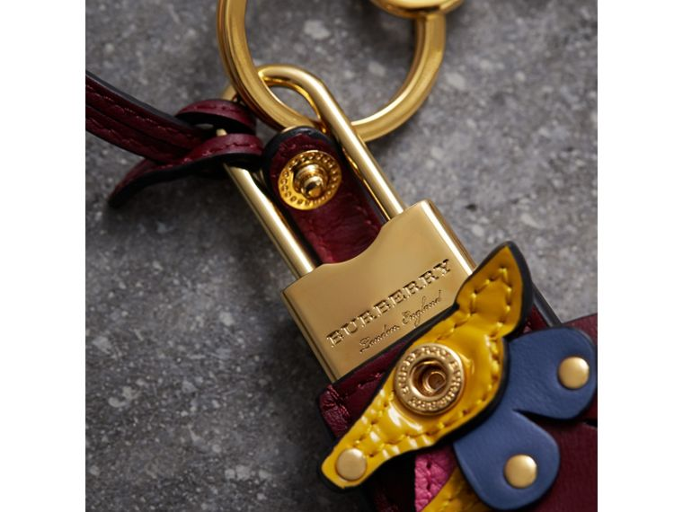 Beasts Leather Key Charm and Padlock in Citrus Yellow - Women | Burberry - cell image 1