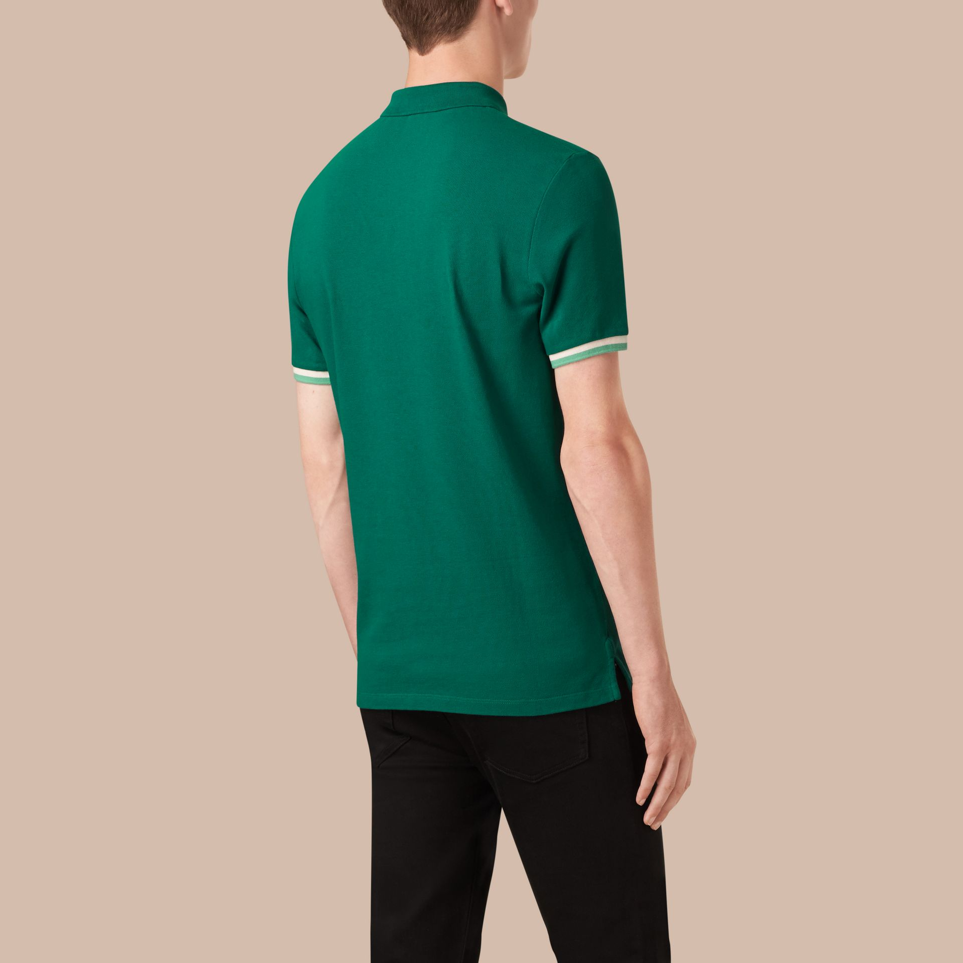 Deep viridian green Contrast Cuff Cotton Piqué Polo Shirt Deep Viridian Green - gallery image 2
