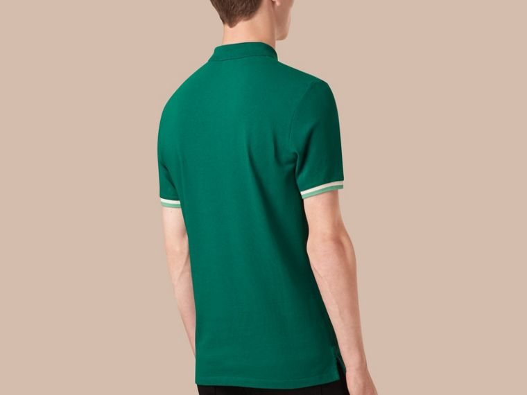 Deep viridian green Contrast Cuff Cotton Piqué Polo Shirt Deep Viridian Green - cell image 1
