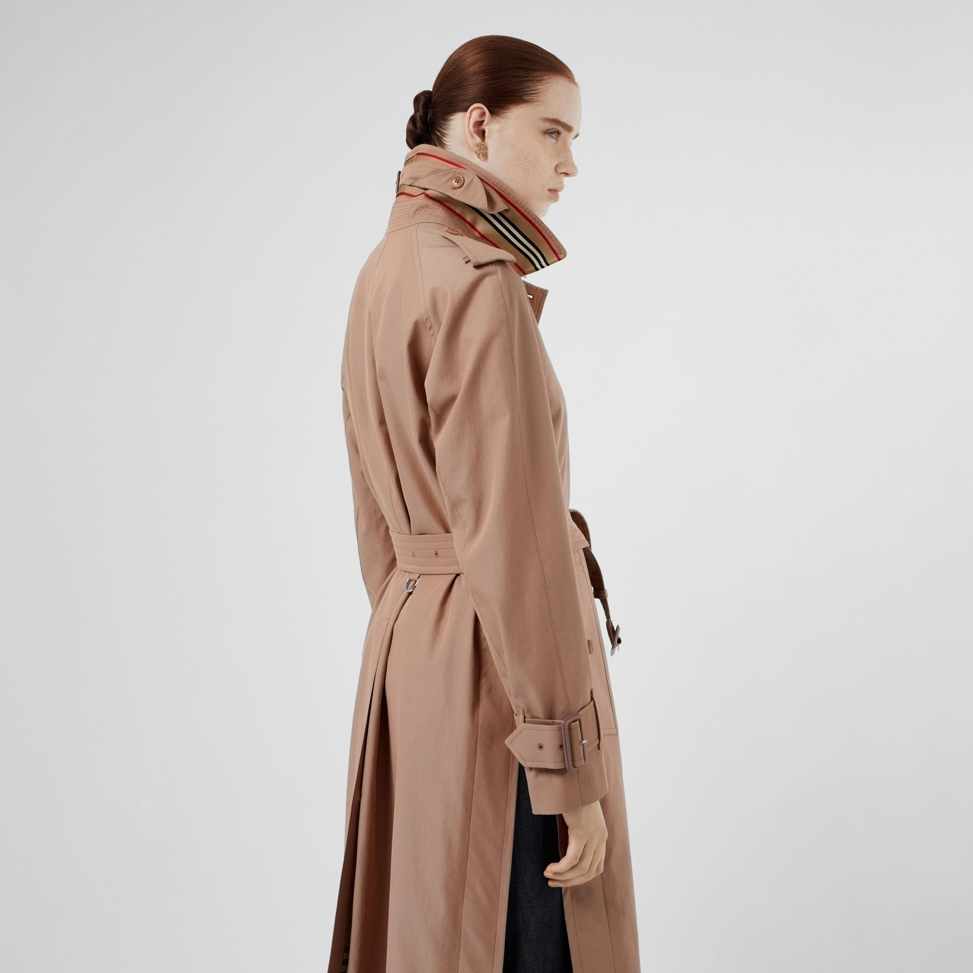 Tropical Gabardine Belted Car Coat in Pink Apricot - Women | Burberry - gallery image 1