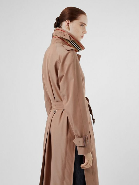 Tropical Gabardine Belted Car Coat in Pink Apricot