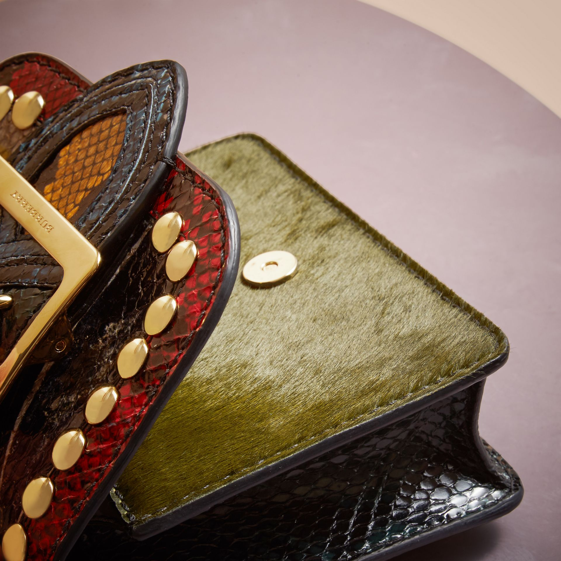 The Mini Square Buckle Bag in Calfskin and Riveted Snakeskin - gallery image 5