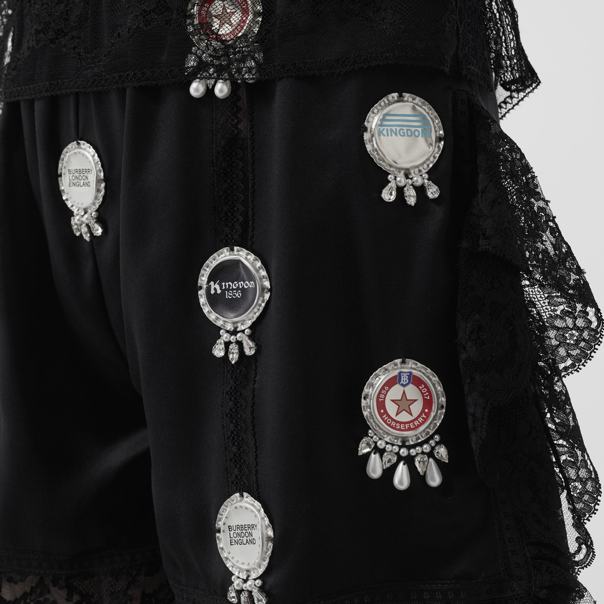 Bottle Cap Detail Satin and Lace Shorts in Black - Women | Burberry - gallery image 1