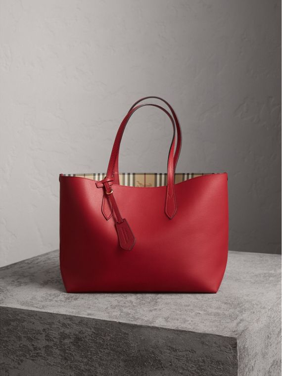 The Medium Reversible Tote in Haymarket Check and Leather in Poppy Red