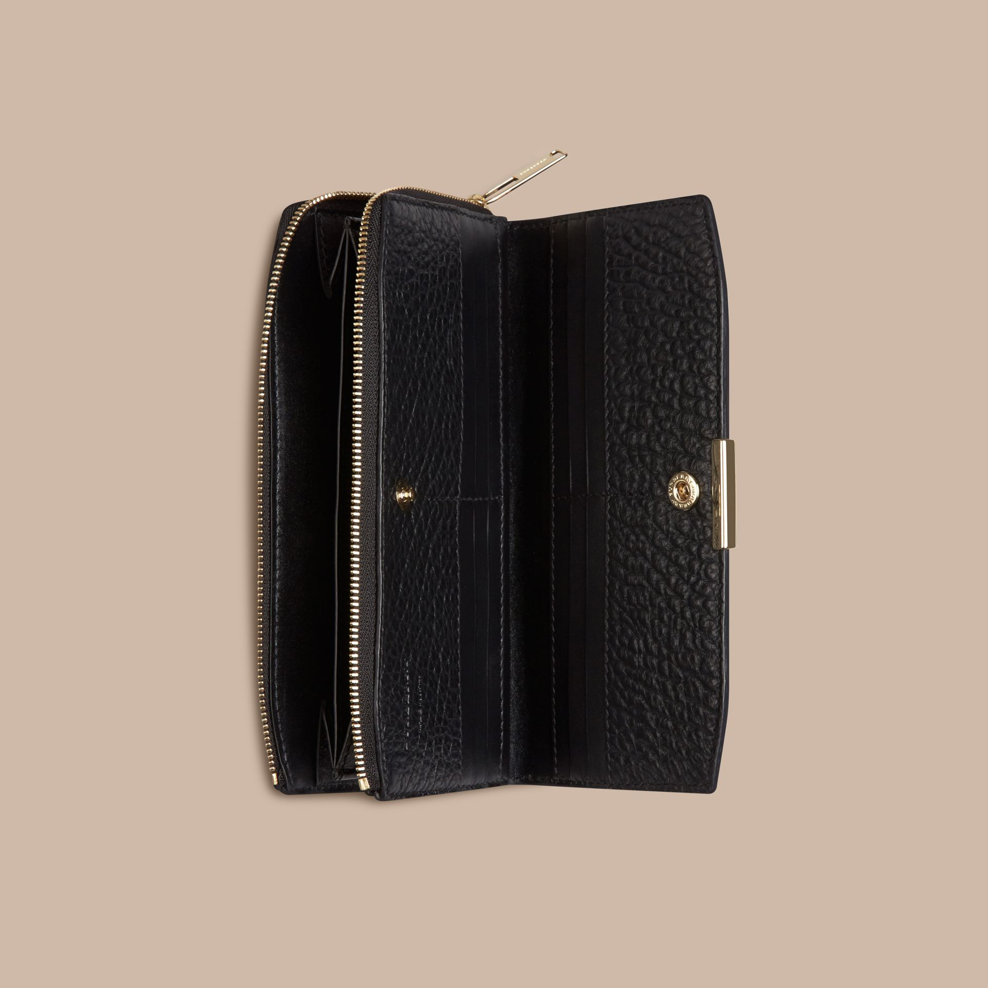 Black Signature Grain Leather Ziparound Wallet Black - gallery image 4