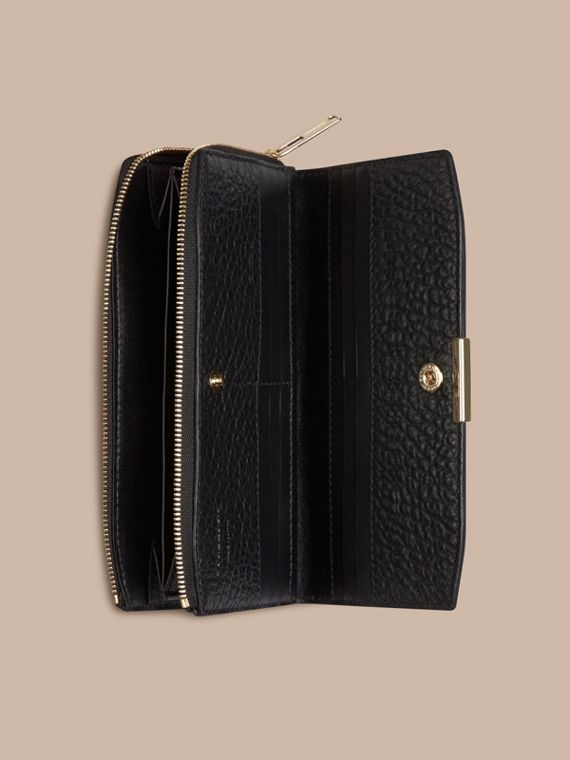 Black Signature Grain Leather Ziparound Wallet Black - cell image 3