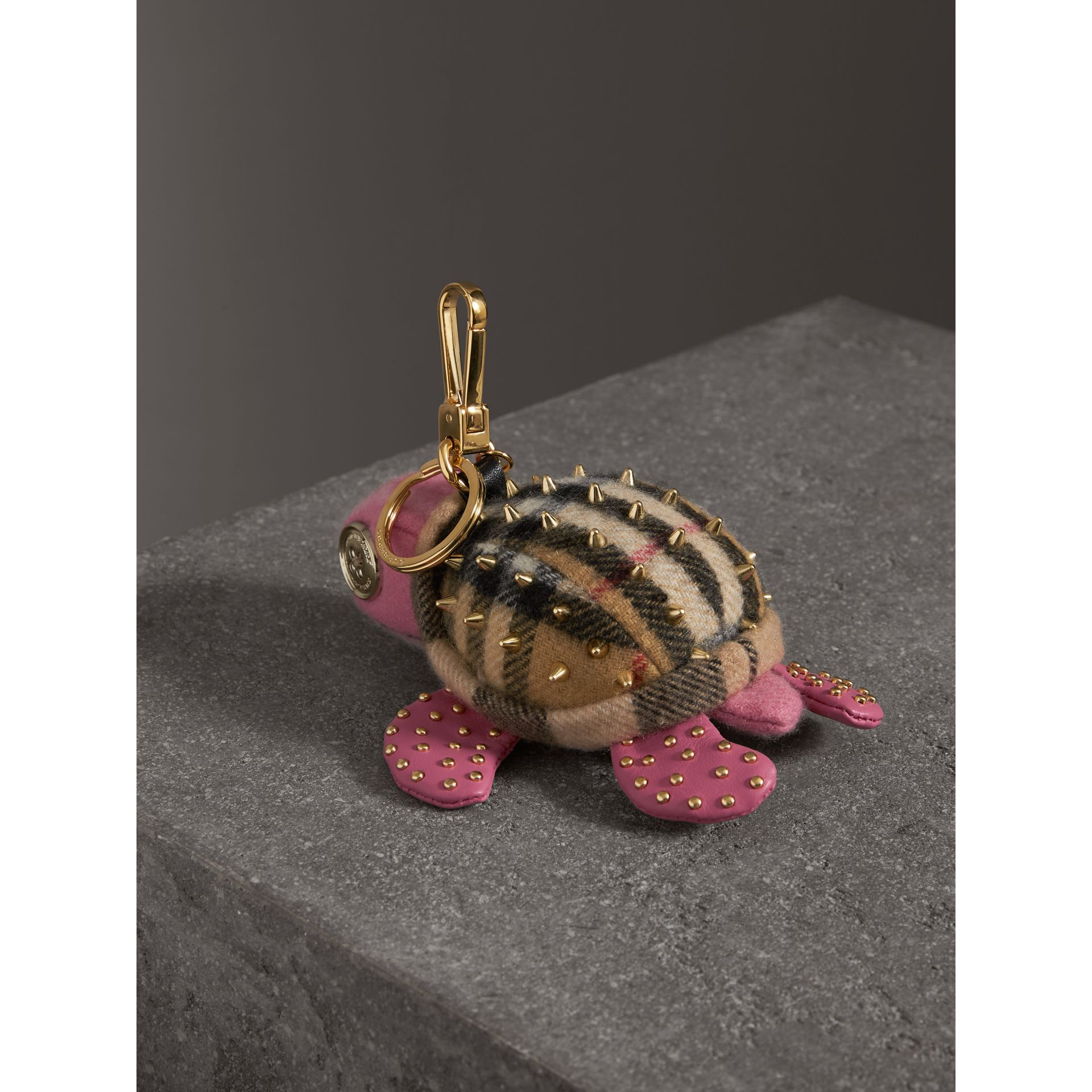 Beatrice The Turtle Cashmere Charm in Pink/antique Yellow | Burberry - gallery image 3