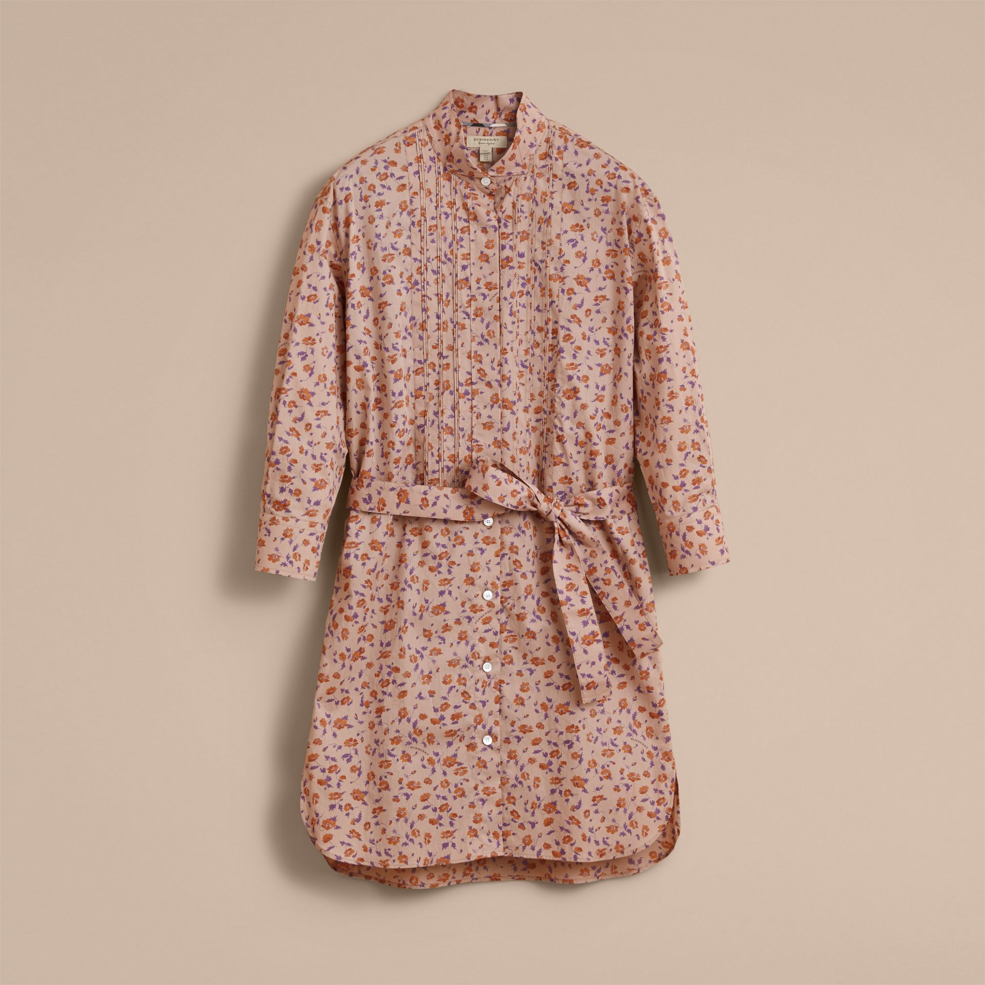 Tie-waist Floral Print Cotton Shirt Dress in Light Copper - Women | Burberry - gallery image 4