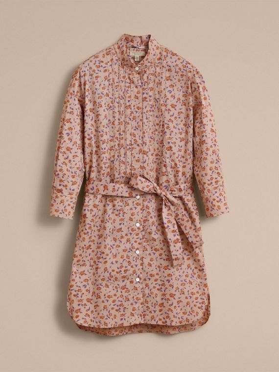 Tie-waist Floral Print Cotton Shirt Dress in Light Copper - Women | Burberry - cell image 3