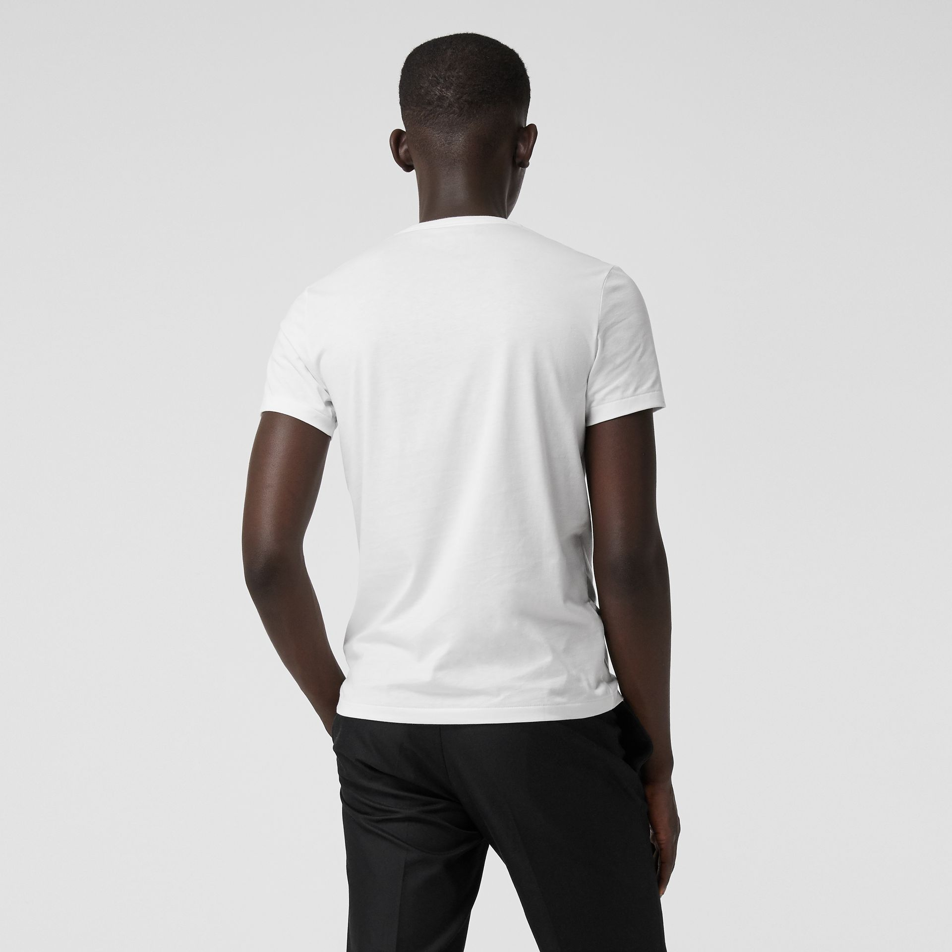 Cotton Jersey T-shirt in White - Men | Burberry Hong Kong - gallery image 2