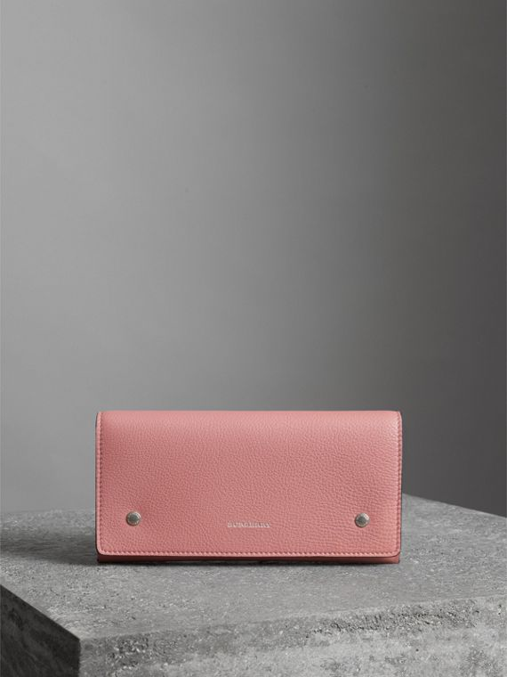 Two-tone Leather Continental Wallet in Dusty Rose