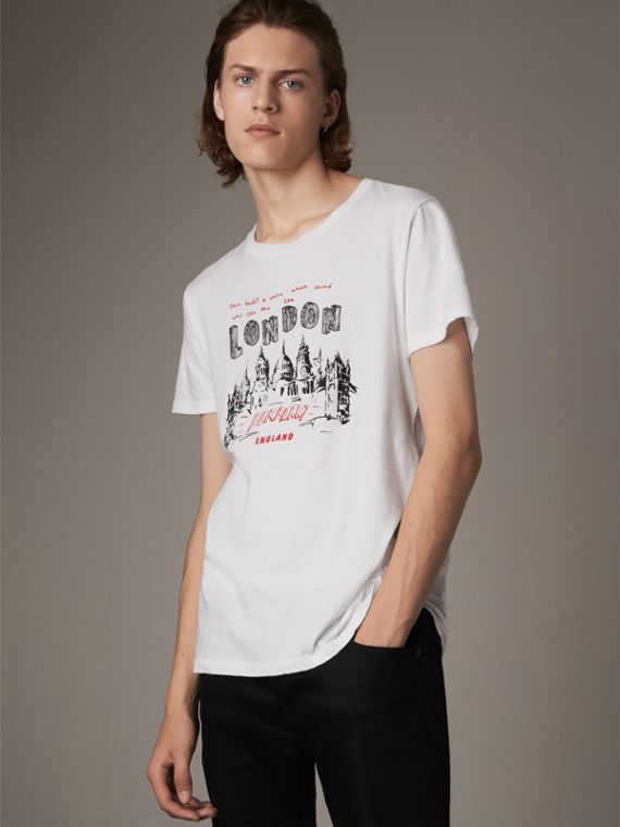 London Skyline Print Cotton T-shirt in White