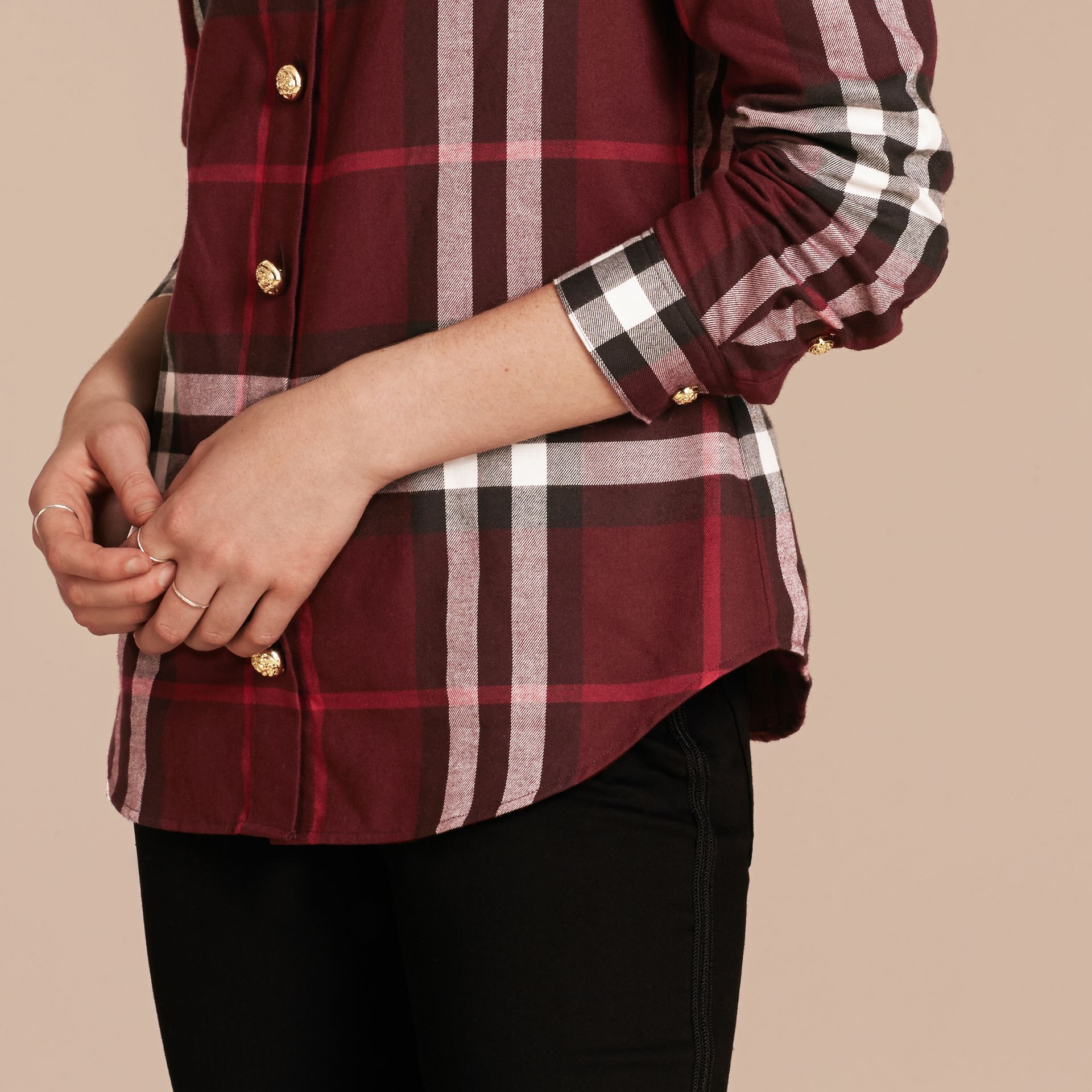 Claret Fitted Cotton Flannel Military Check Shirt - gallery image 5