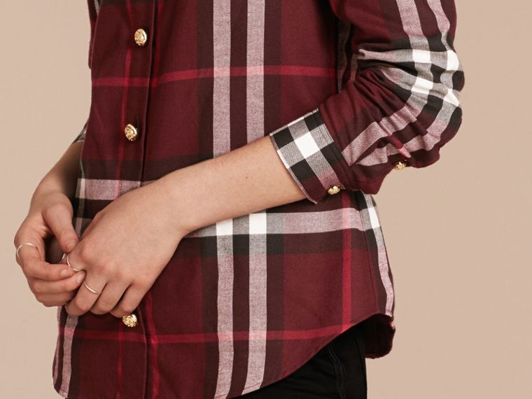 Claret Fitted Cotton Flannel Military Check Shirt - cell image 4
