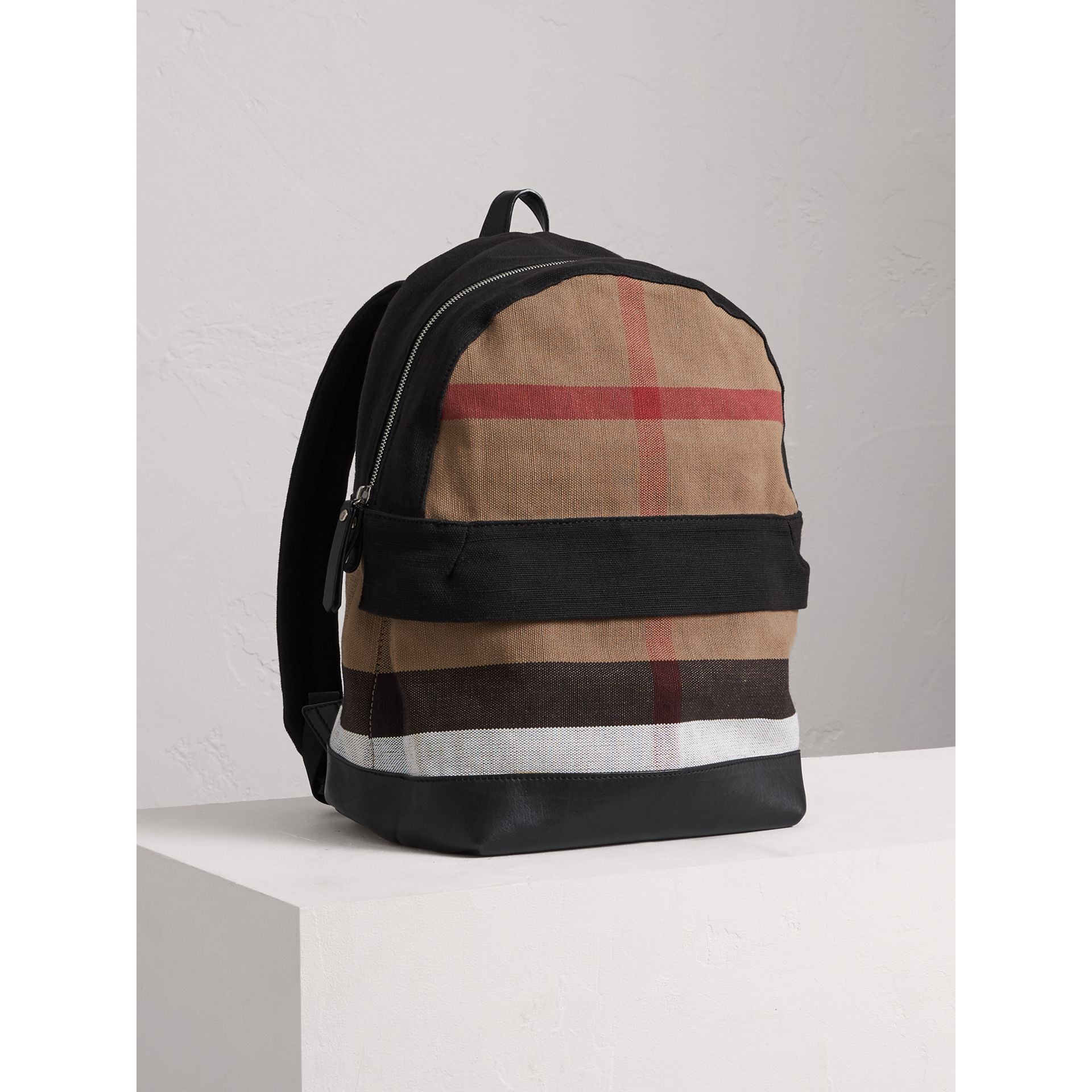Canvas Check and Leather Backpack in Black | Burberry Singapore - gallery image 4