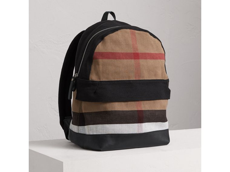 Canvas Check and Leather Backpack in Black | Burberry - cell image 4