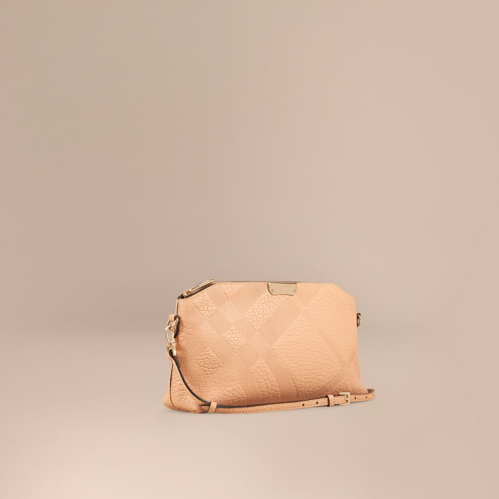 Pale apricot Small Embossed Check Leather Clutch Bag Pale Apricot - gallery image 1