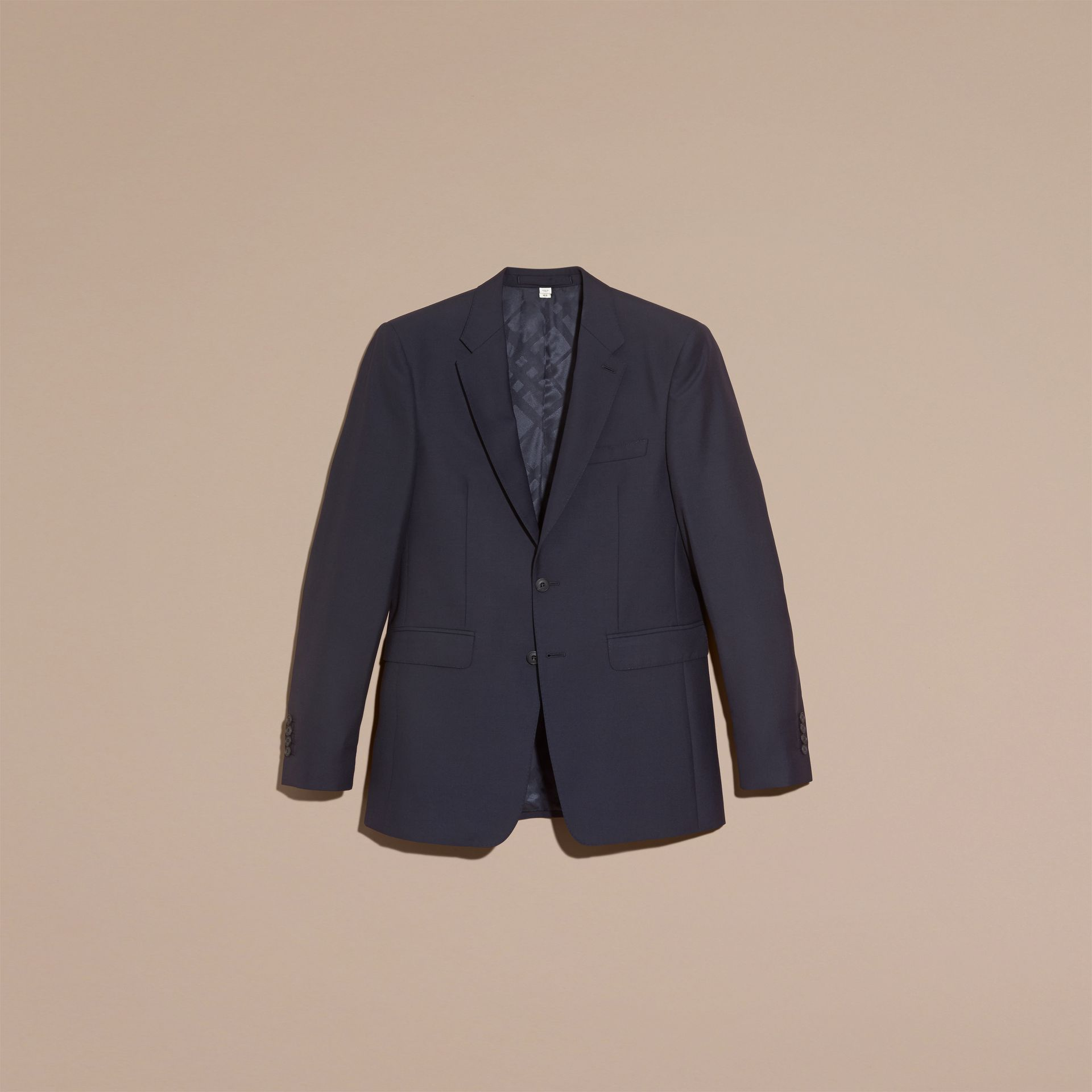 Navy Modern Fit Wool Part-canvas Suit Navy - gallery image 4