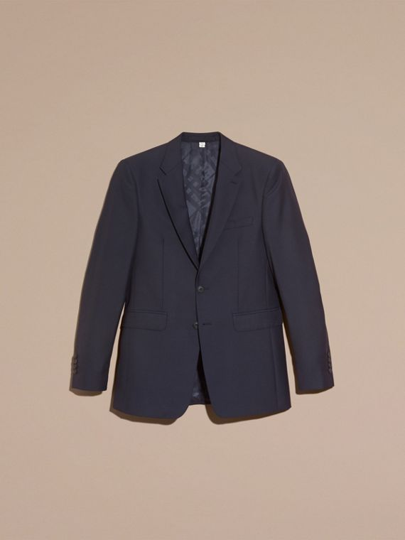 Navy Modern Fit Wool Part-canvas Suit Navy - cell image 3