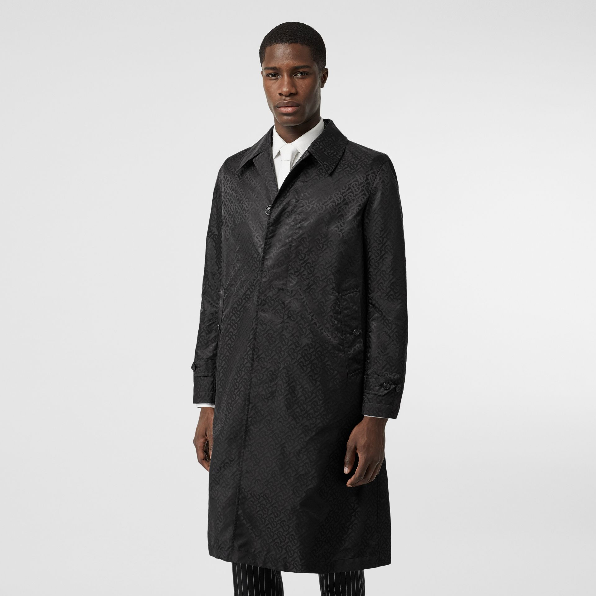 Monogram ECONYL® Jacquard Car Coat in Black | Burberry - gallery image 5