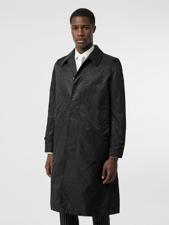 Monogram ECONYL® Jacquard Car Coat in Black