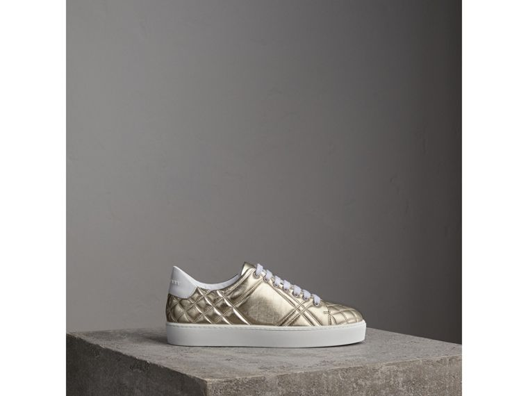 Metallic Check-quilted Leather Sneakers in Light Gold - Women | Burberry Australia - cell image 4