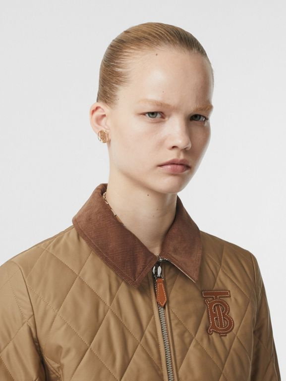 Monogram Motif Quilted Riding Jacket in Honey - Women | Burberry United Kingdom - cell image 1
